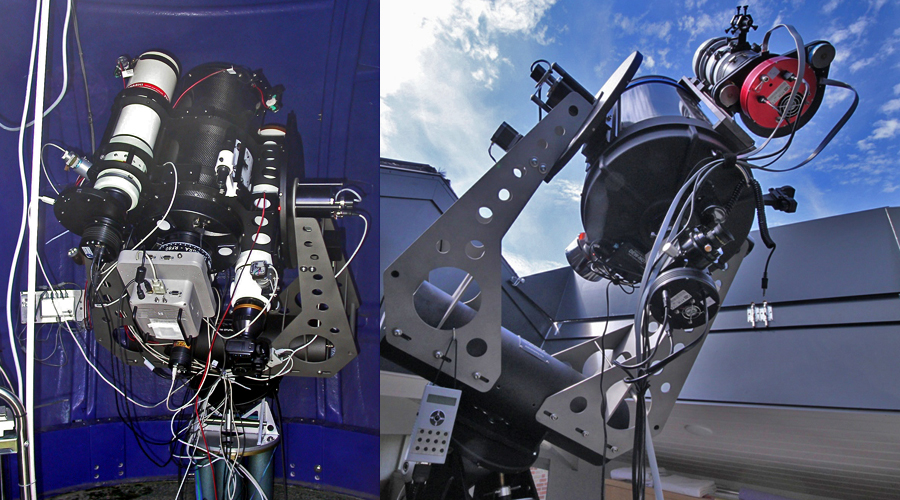 25-cm RC with 3 refractors, all mounted is a solid custom cradle (3D render on top) and Celestron C14 installation on MoFoD.
