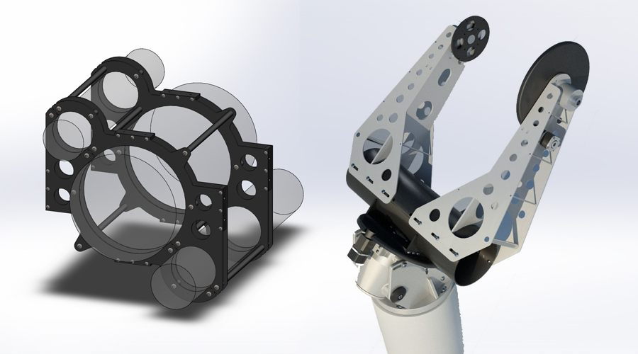 Custom aluminium cradle for multiple instrument group and MoFoD 3D render.